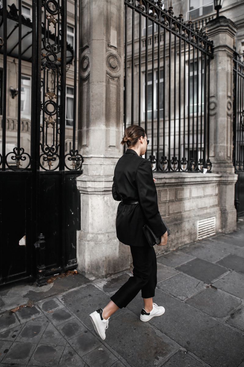 all black Paris fashion week street style Isabel Marant sneakers cropped kick flare Stella McCartney blazer Bassike belt modern legacy (4 of 8)