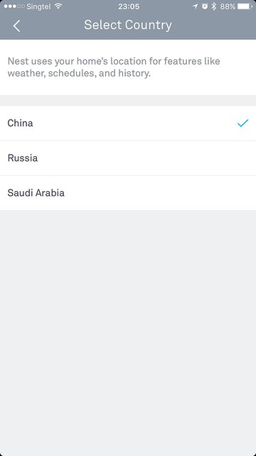 Nest iOS App - Country