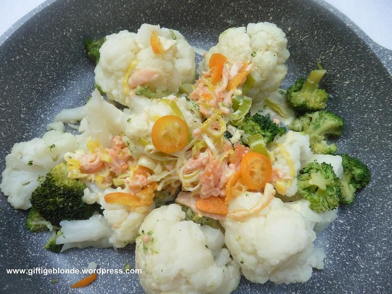 Brokkoli und Karfiol mit Kumquat-Lachssauce