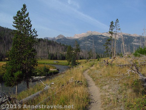Looking back just before turning onto the Slide Lake Trail, Clear Creek Canyon Trail, Wind River Range, Wyoming