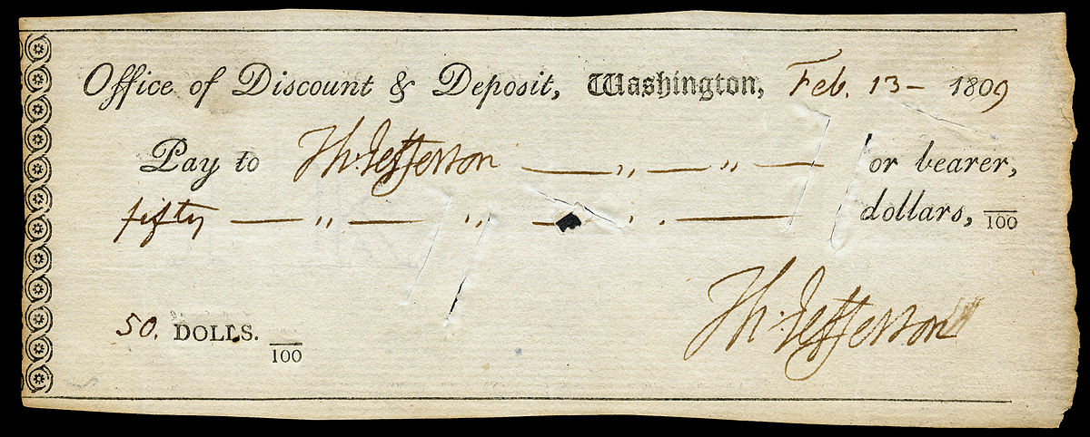Will you take a check? No, I'm sorry Mr Jefferson, sir—we only accept cheques.