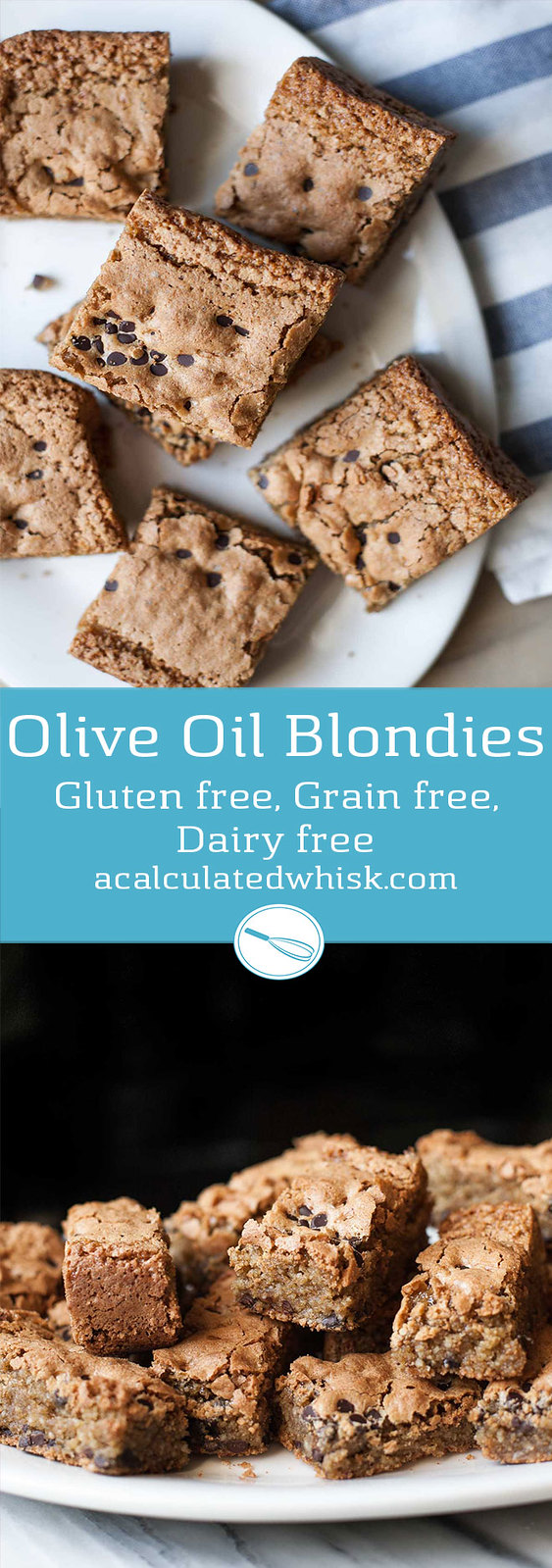 Olive Oil Blondies (Gluten free, Grain free, Dairy free)