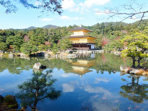 金閣寺の庭園鏡湖池画像