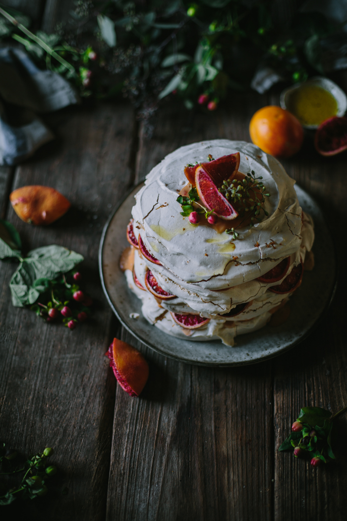 Blood Orange Olive Oil Meringue Stack by Eva Kosmas Flores