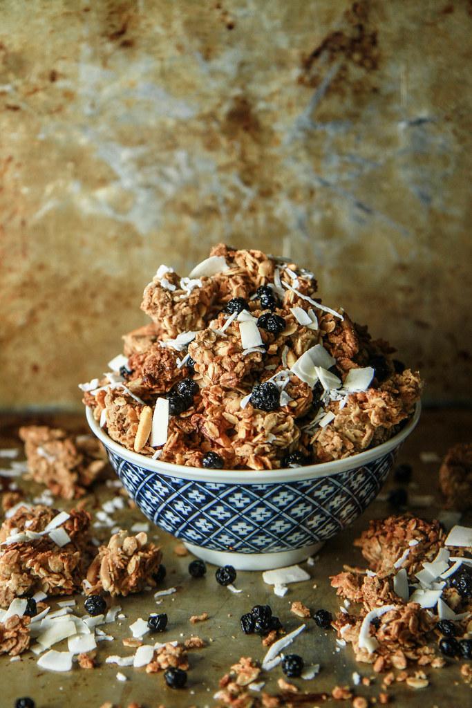Blueberry Coconut Granola- GF and vegan from HeatherChristo.com