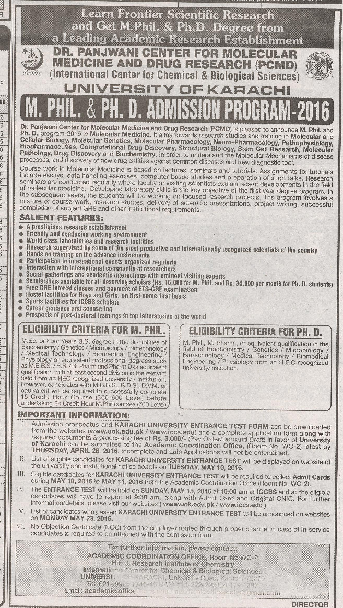 Dr Panjwani Center For Molecular Medicine and Drug Research admission 2016