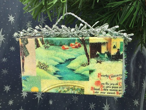 'Skating Party' Christmas card shadow box