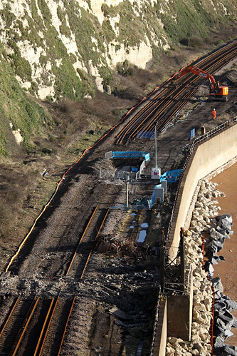 The ongoing repairs to the sea wall at Shakespeare Beach, Dover