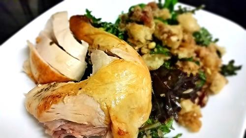 Zuni chicken and bread salad