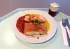 Salmon filet with ratatouille, saffron sauce & potato strudel / Lachsfilet auf der Haut gebraten mit frischem Ratatouille, Safransauce & Kartoffelstrudel