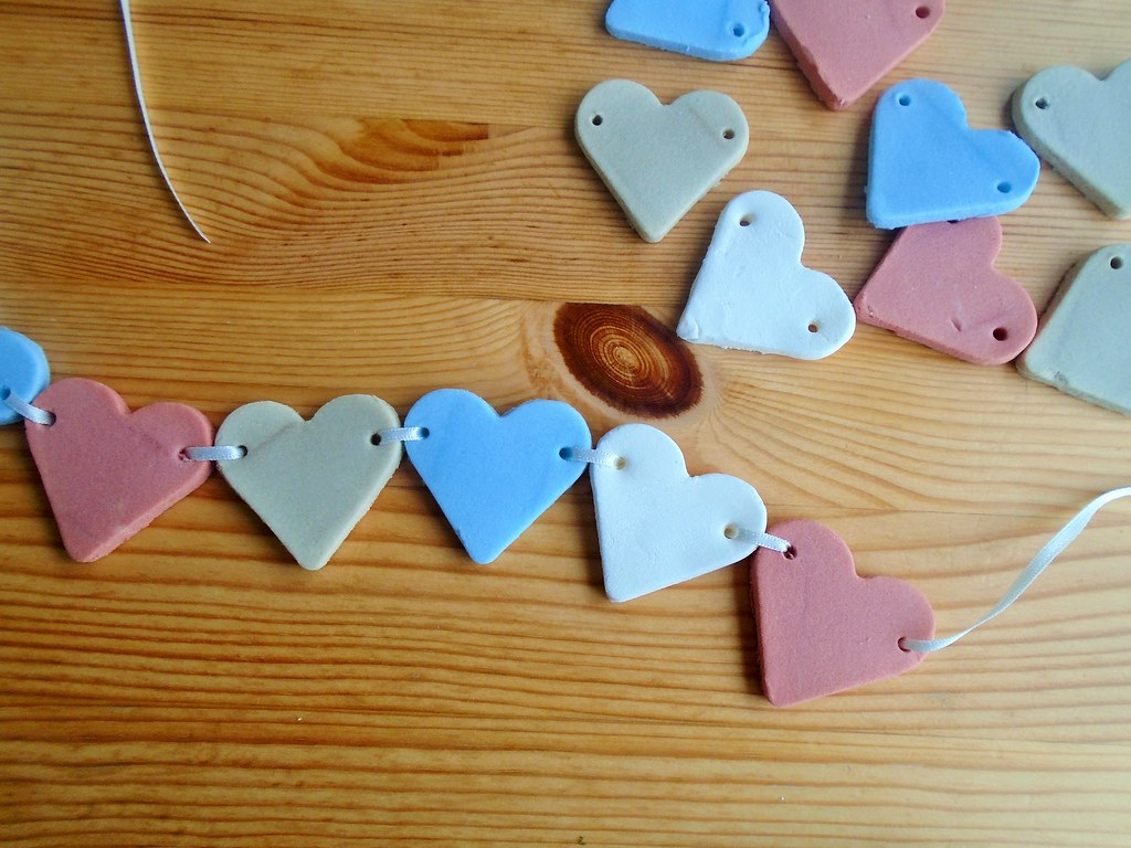 air dried clay heart garland