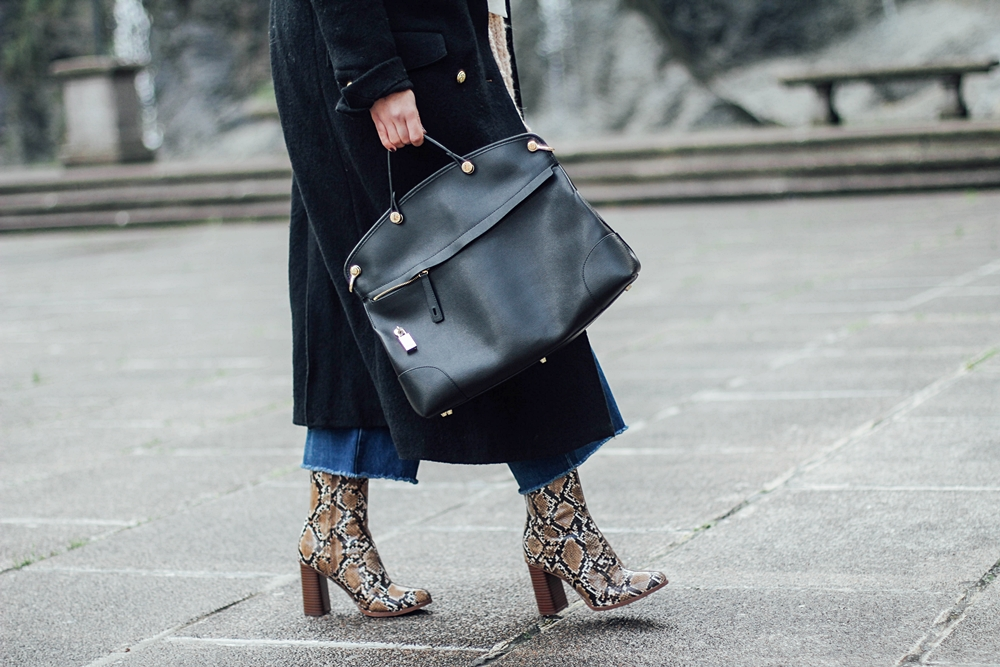 black piper furla bag with snake booties streetstyle myblueberrynightsblog