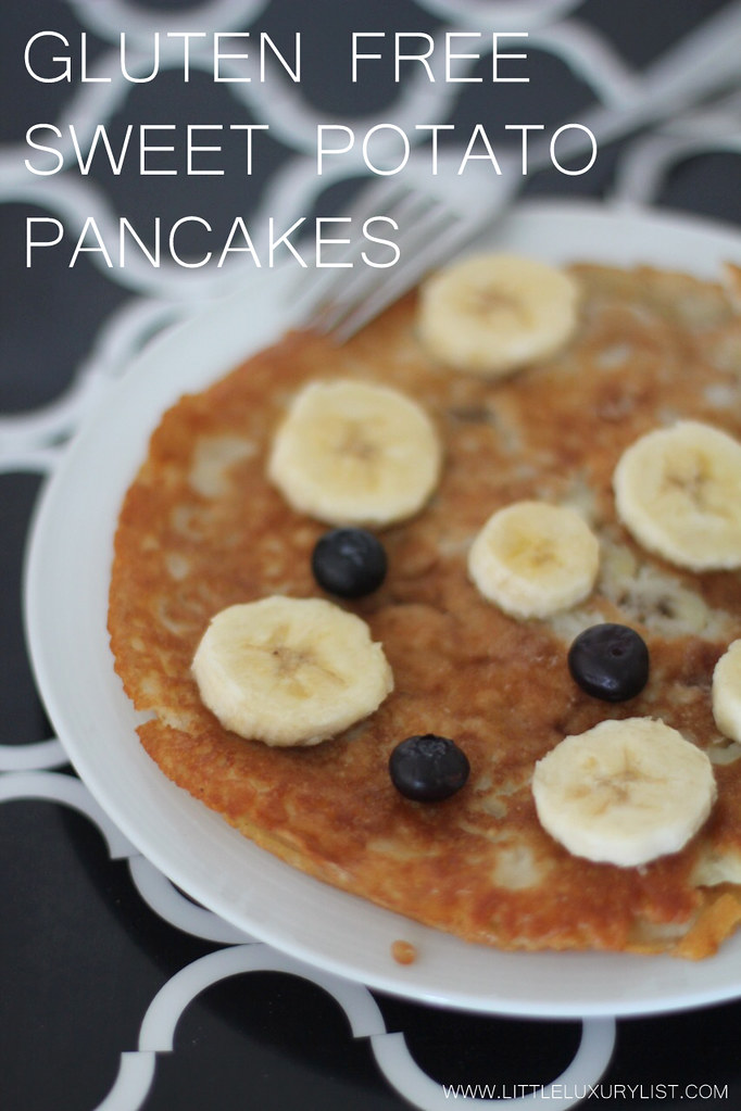Sweet potato pancake with banana and blueberry portrait view by little luxury list