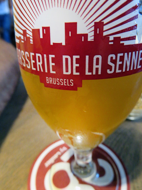 Enjoying a 'Brasserie De La Senne' beer in the Moeder Lambic Pub in Brussels, Belgium
