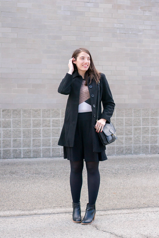 black flare skirt + ankle boots + black ribbed tights + geometric print sweater | Style On Target