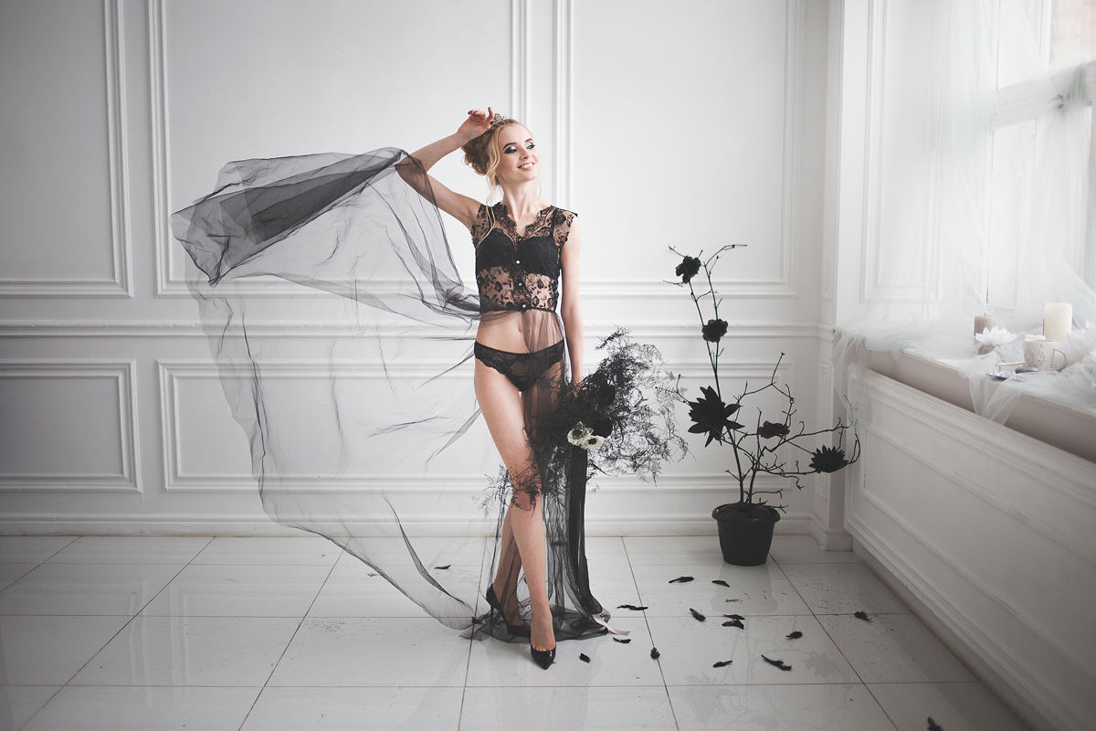 Black lingerie ,Wedding boudoir for Black and white wedding dress for A Magic Black Wedding Inspiration Shoot | Photo by Anastasia Marchenko of Your Personal Photographer | Read more on Fab Mood - UK wedding blog #blackwedding #weddingideas