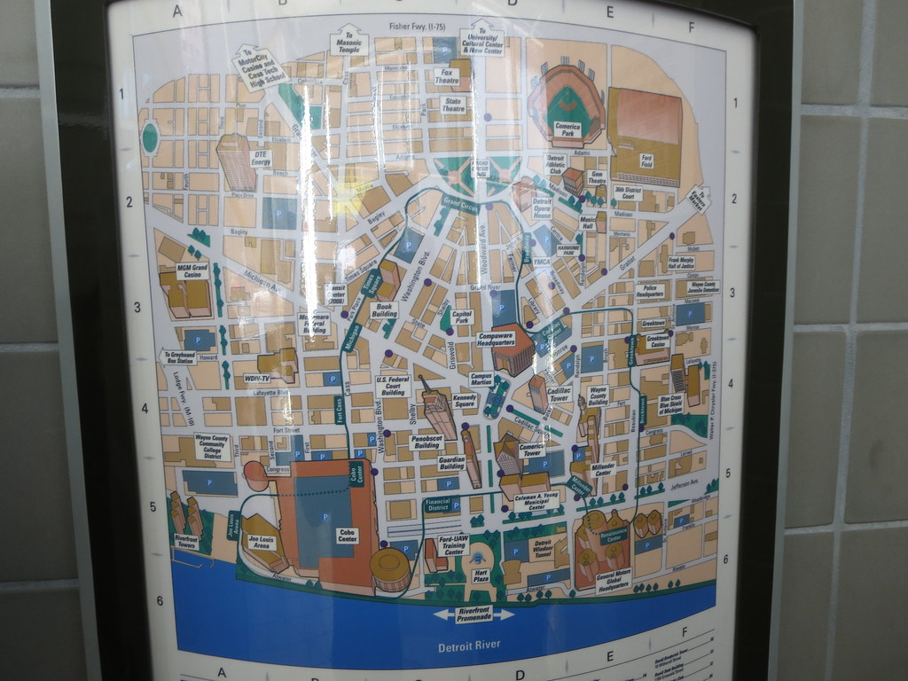 The People Mover map of Detroit, Michigan, USA | Detroit, Mi ...