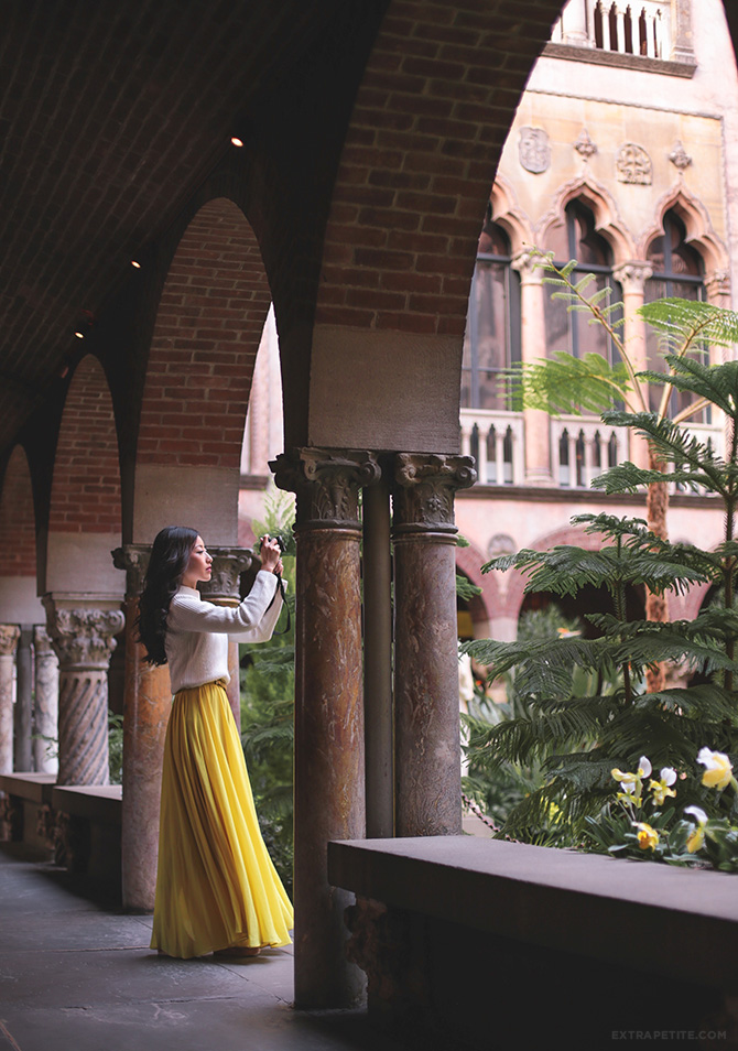 isabella stewart gardner art museum courtyard boston yellow maxi dress