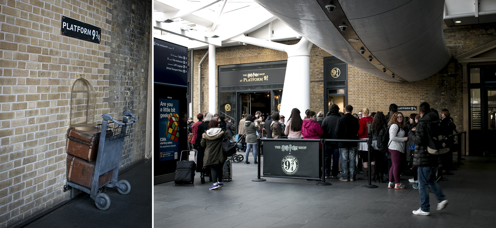 platform 9 3/4, lontoon nähtävyydet, harry potter, king's cross
