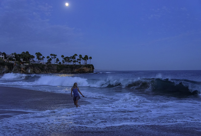 Laguna Beach under a full moon