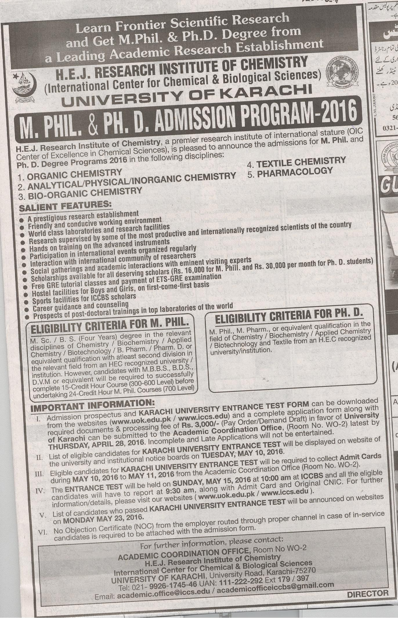 H E J Research Institute of Chemistry Admission 2016