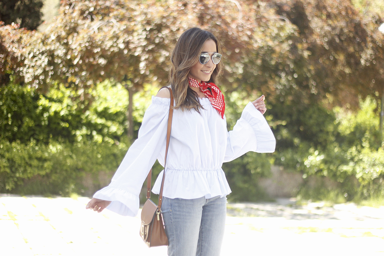 off the shoulders top with bell sleeves red bandana nude heels dior sunglasses spring outfit24