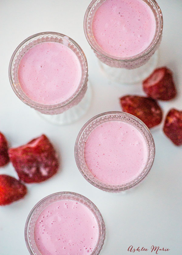 perfect to go with spicy food this strawberry lassi is easy to make and delicious