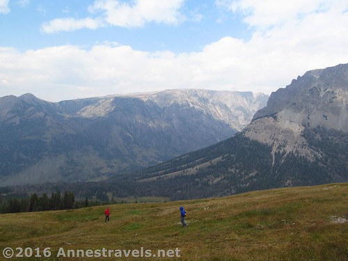 Descending on the high meadows of White Rock, Wind River Range, Wyoming