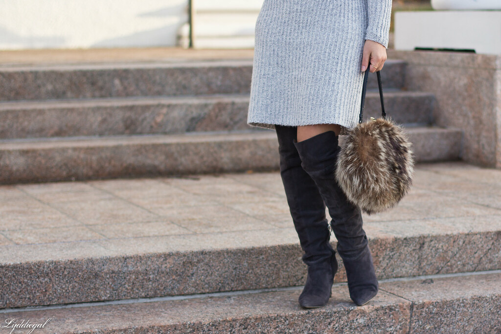 grey sweater dress, over the knee boots, fur bag-1.jpg