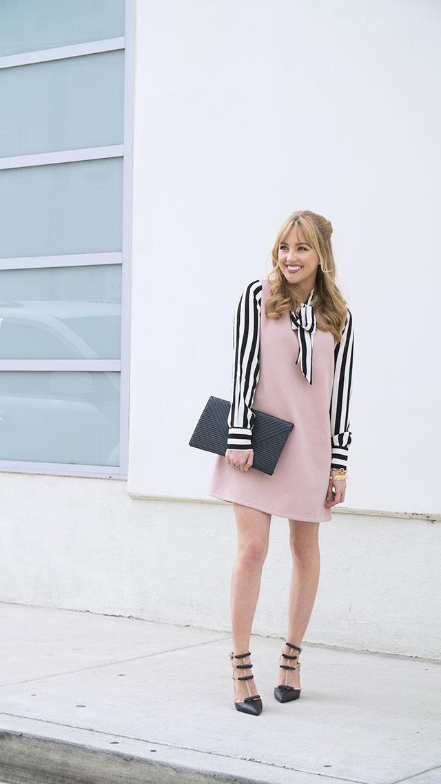 Hannah-hagler, Hannah-champagne-lifestyle, champagne-lifestyle, champagne-lifestyle-blog, fashion-blogger, affordable-fashion-blogger, budget-friendly-fashion-blog, budget-friendly-fashion-blogger, beauty-blogger, youtuber, female-youtuber, interior-designer, affordable-fashion, chic-fashion-ideas, fashion-inspiration, chicwish sweet bow and stripes pink dress, chicwish, sweet bow and stripes pink dress, tory burch large logo earrings, jeffrey campbell bow heels, jeffrey campbell bow heels, valentino rockstud inspired heels, valentino inspired heels, black chevron clutch, margaret elizabeth chain bracelet, margaret elizabeth 10 stone onyx bangle,