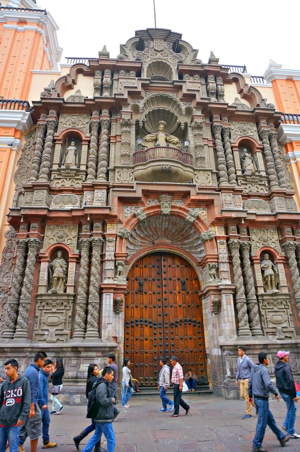 Ornate Church Door in Downtown Lima