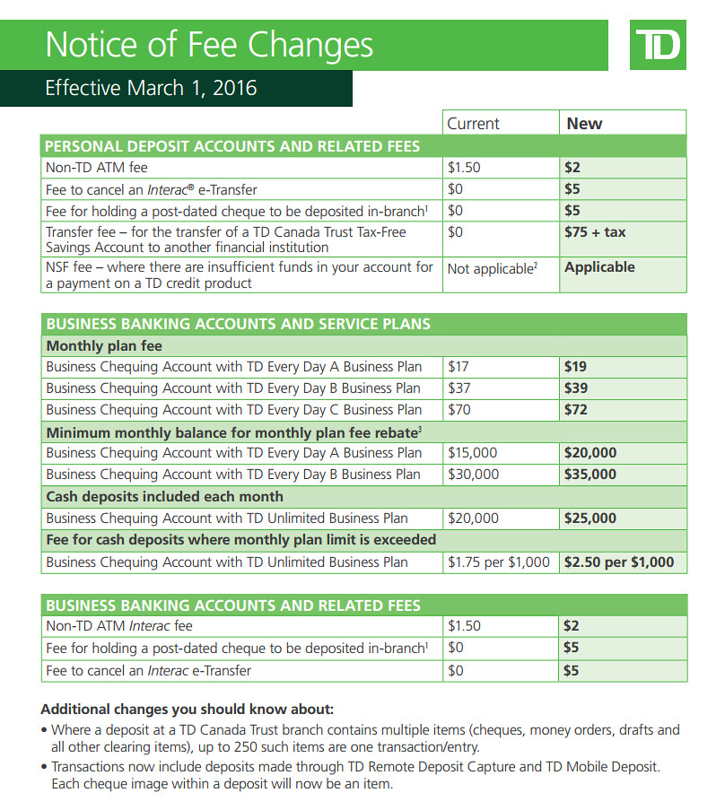 Td Bank Wire Transfer Fee | The Bullshitiest Of The Td Canada Trust Fee Increases Toronto