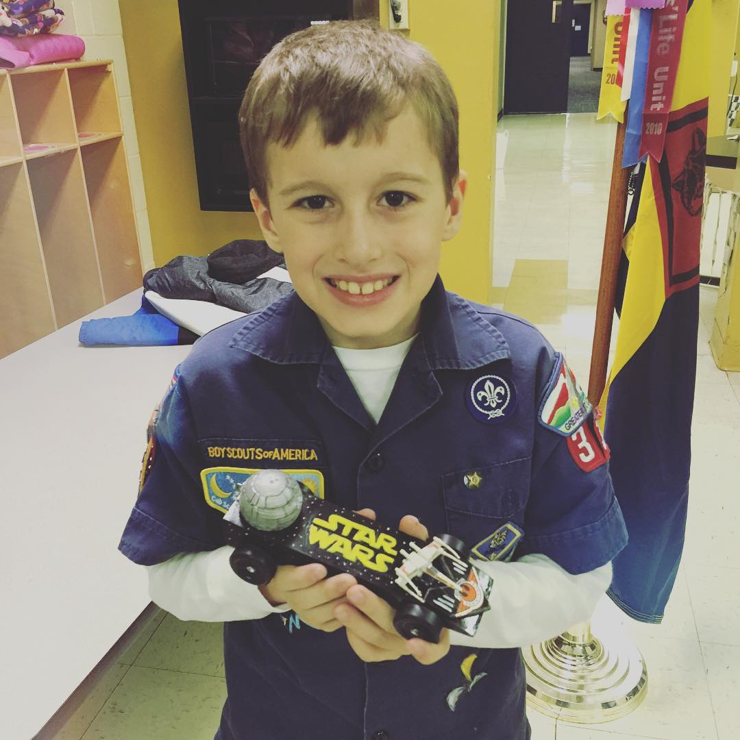 Another Pinewood Derby in the 📚books📚. The Death Star was made on my husband's 3D printer and it even has a tiny LED light in it that makes it light up. We did pretty good this year! 😃👍👏🚦:checkered_f