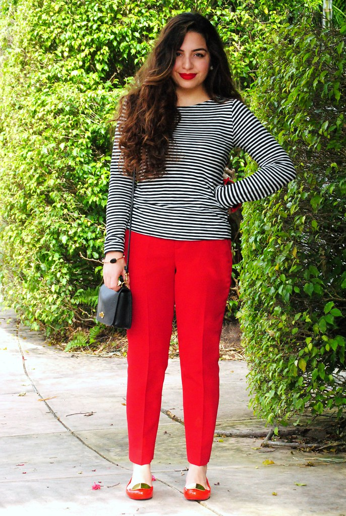 red pants, black and white striped long sleeve