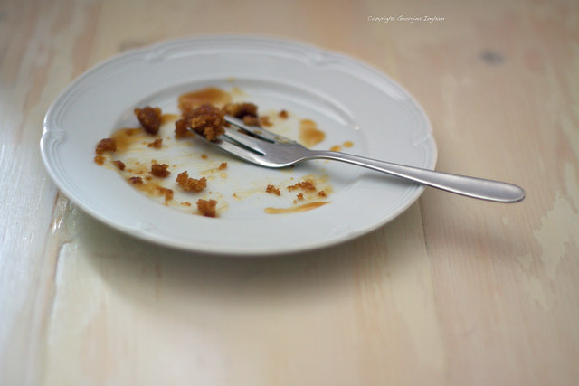 Georgina Ingham Culinary Travels - Photograph Empty Plate with Cake Crumbs and Cake Fork
