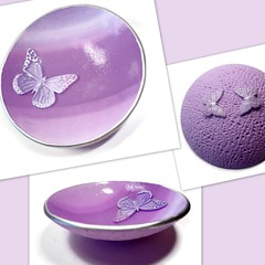 polymer clay Lavender Butterfly Wedding Ring Dish