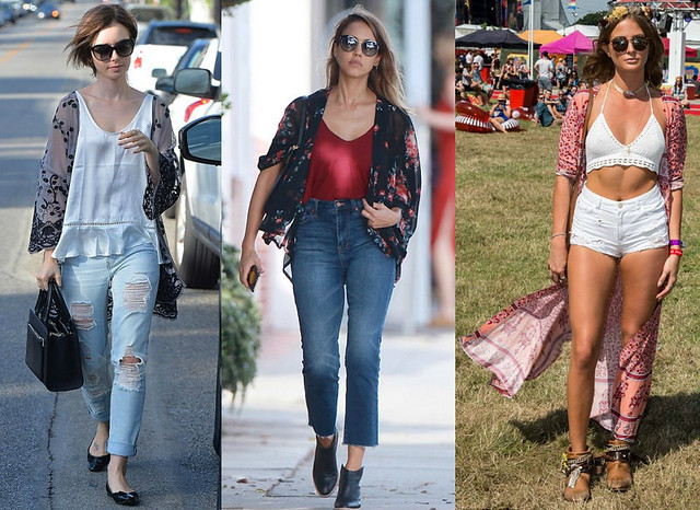 sheer kimono top, large sunglasses, floaty white camisole, black patent flats with bow detail, boxy black handbag, high waisted frayed jean, floral print kimono top, burgundy vest, shades, leather ankle boots, white crochet halter neck bralet with a long