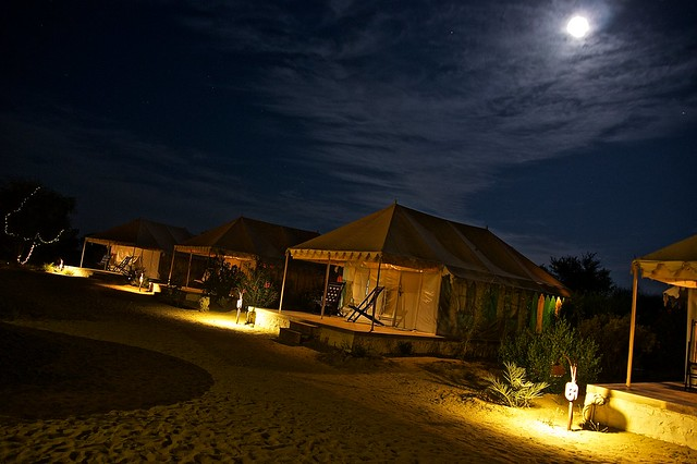 Moonlit desert camp