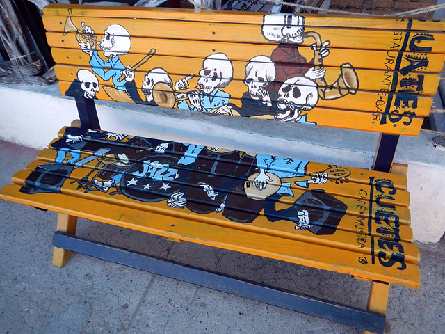 Mexican Death Bench, skeleton Mariachis celebrating in Puerto Vallarta, Mexico