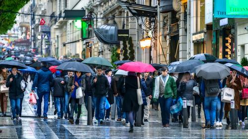 Rain, Champs-Elysees, Paris, 2015