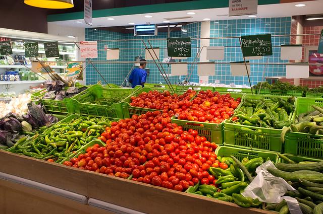 Rayon des produits agricole dans une grande surface