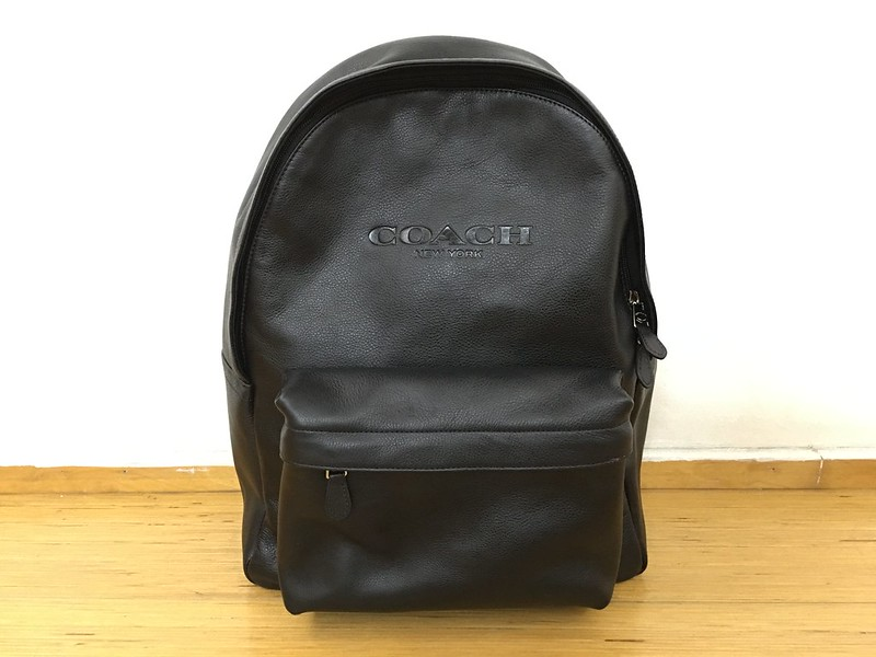 Coach Mens Campus Backpack Black Leather - Front