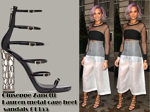Alesha Dixon in Giuseppe Zanotti Lauren metal cage heel sandals with mesh top & white culottes
