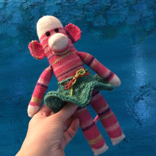 Pink knit sock monkey