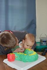 Biting the cake
