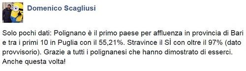 Il post Facebook di Domenico Scagliusi