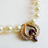 Vintage Faux Pearl Necklace with Goldtone Rhinestone Pendant