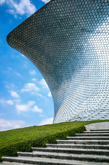 Soumaya Museum - grass, sky and concrete steps