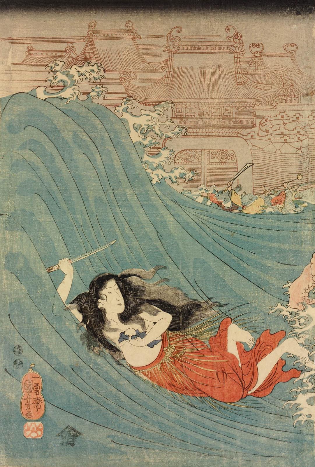 Utagawa Kuniyoshi - Shizu no ama otome Daishokan, 1847-48 (left panel)