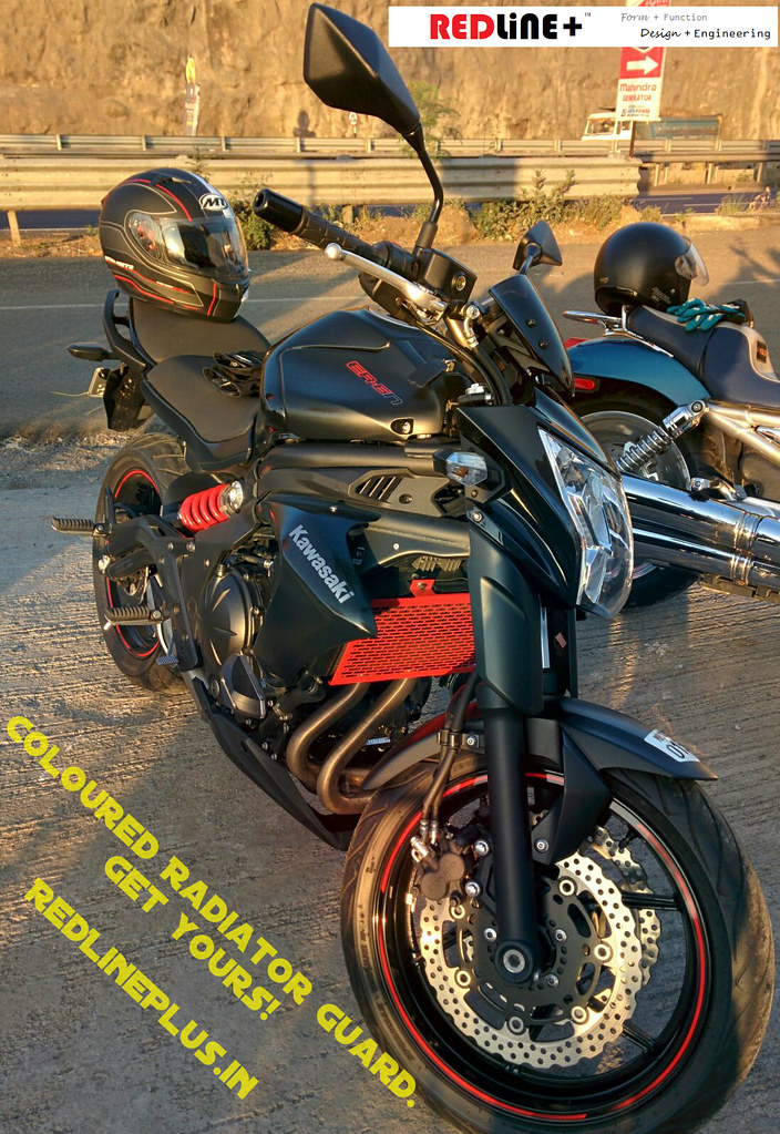 Coloured Radiator Guard for Kawasaki ER-6n and Ninja 650. This is a photo of a red guard.